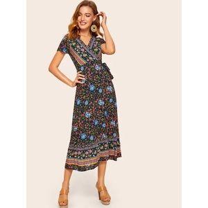 Floral midi tie dress